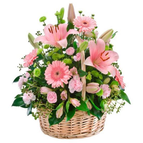 Canasta De Rosas Lilium Y Gerberas Rosadas